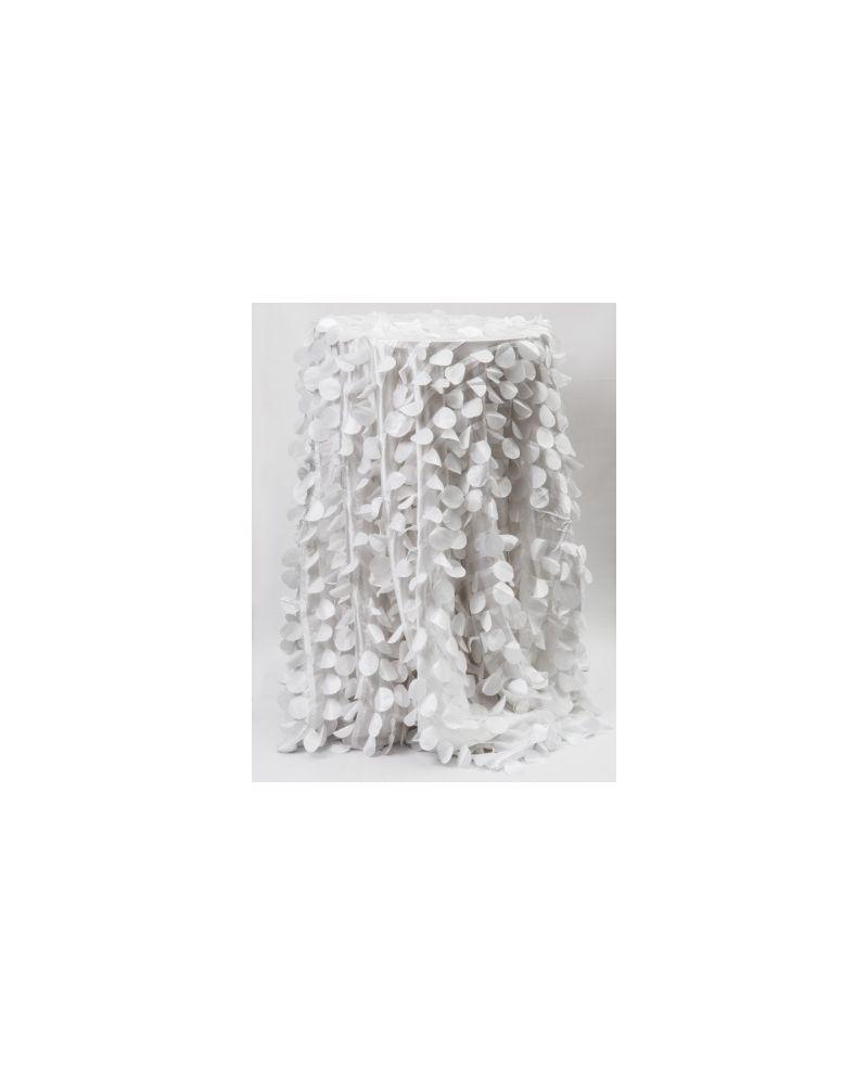 "132"" Inch Round White Petal Taffeta Tablecloth"