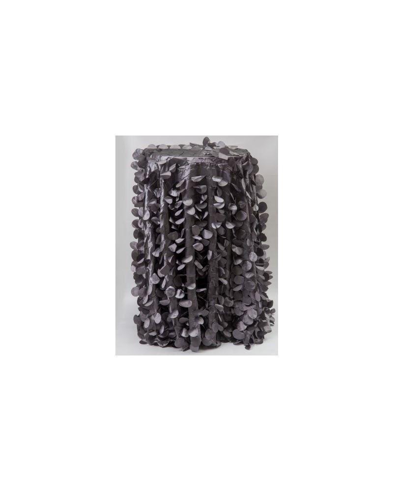 "132"" Inch Round Platinum Petal Taffeta Tablecloth"