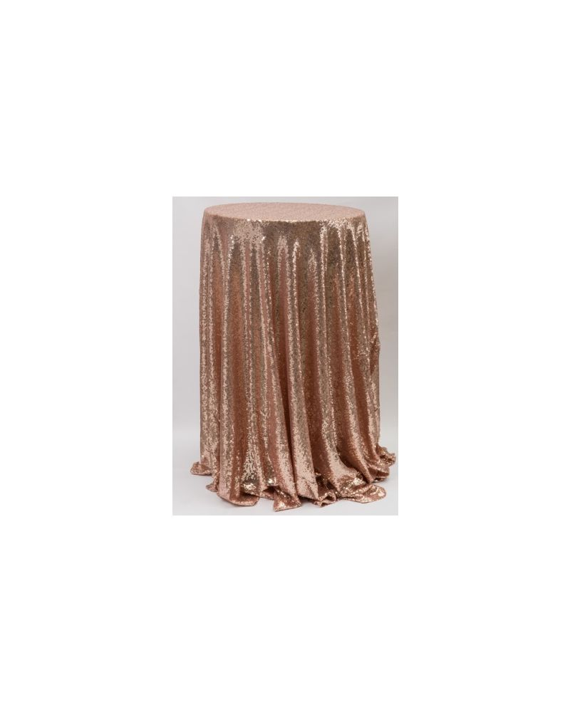 90 Inch Round Blush Pink Sequin Tablecloth / Overlay