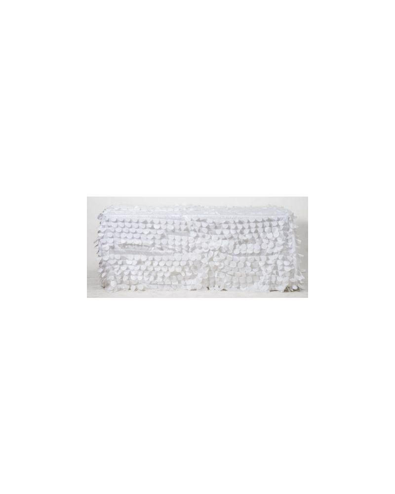 "90x132"" Inch Rectangle White Petal Taffeta Tablecloth"