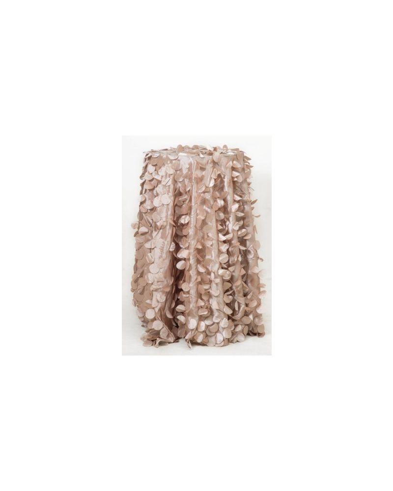"132"" Inch Round Champagne Petal Taffeta Tablecloth"