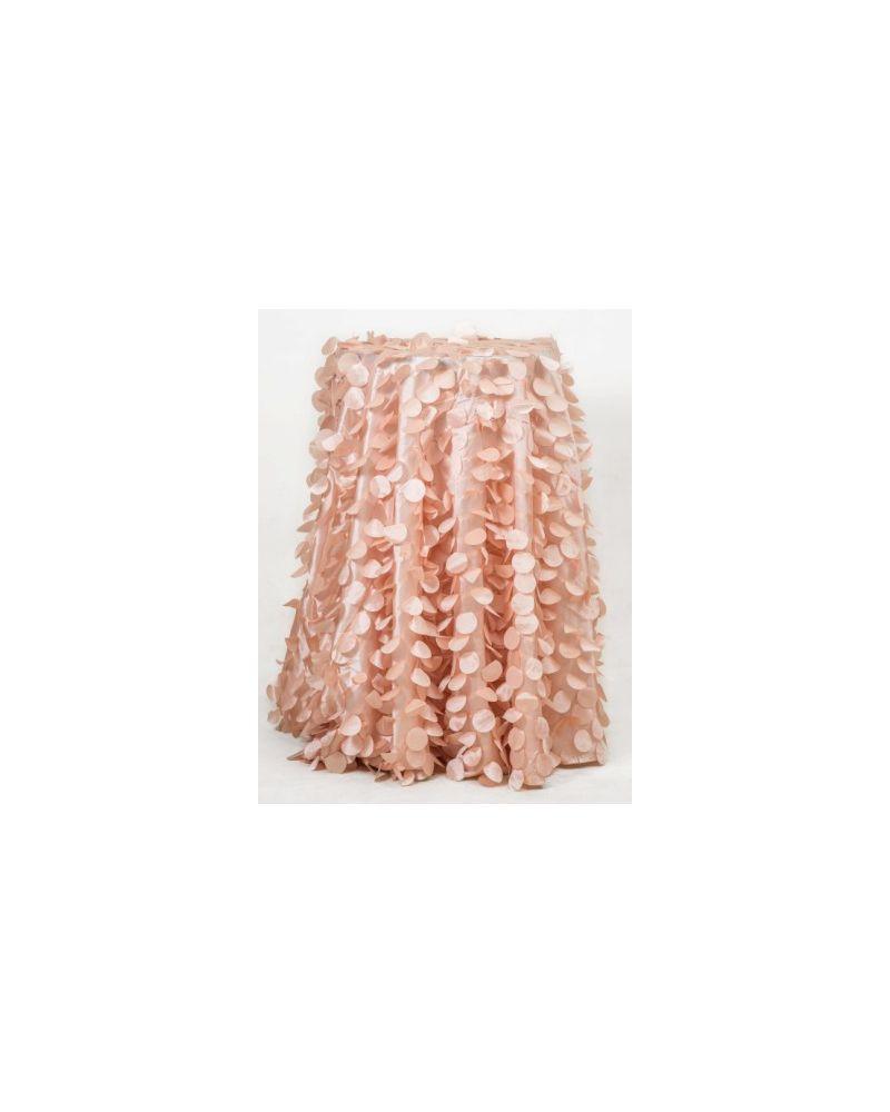 "132"" Inch Round Blush Pink Petal Taffeta Tablecloth"