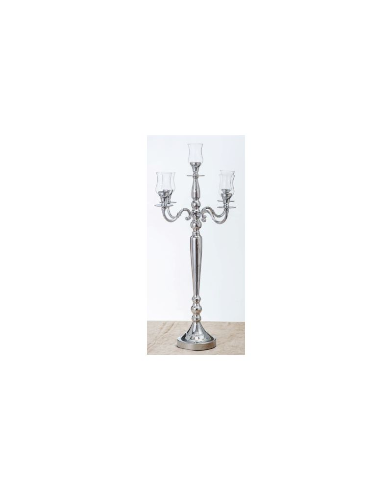 78cm Silver 5 Arm Candelabra with Glass  Holders