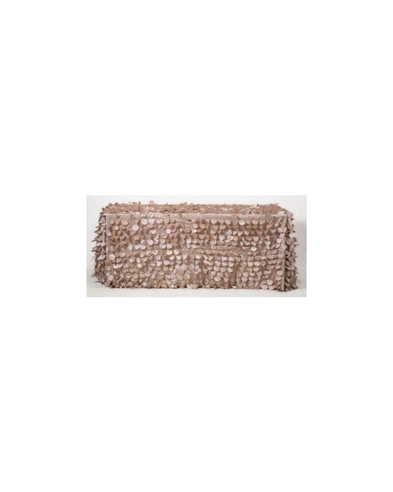 "90x132"" Inch Rectangle Champagne Petal Taffeta Tablecloth"