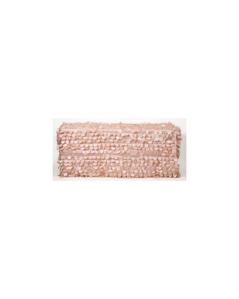 "90x132"" Inch Rectangle Blush Pink Petal Taffeta Tablecloth"