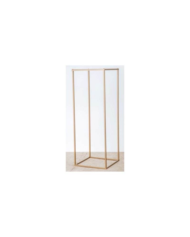Gold Metal Rectangle Flower Stand Table Pedestal 100cm (in stock)