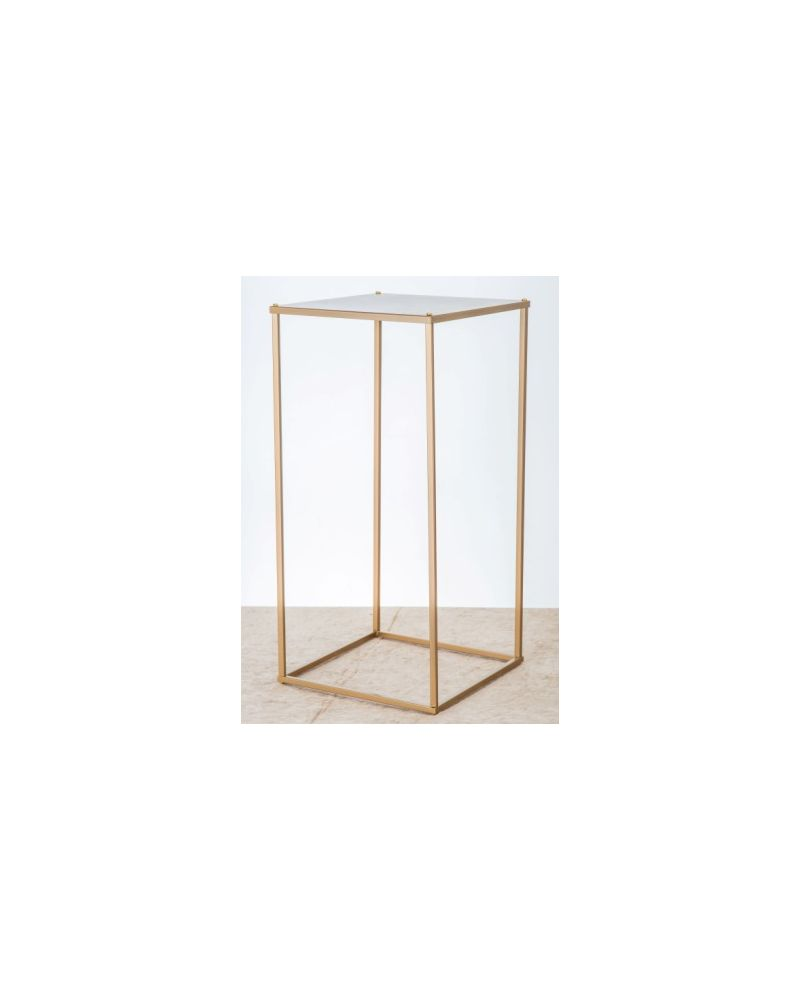 Gold Metal Rectangle Flower Stand Table Pedestal 60cm