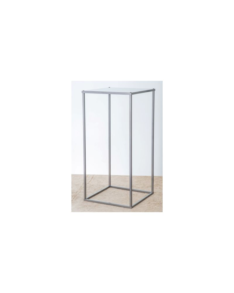 Silver Metal Rectangle Flower Stand Table Pedestal 60cm
