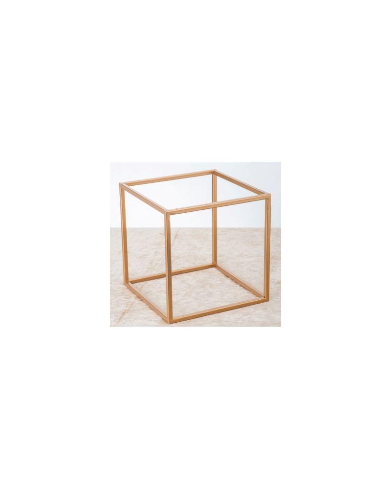 Gold Metal Flower Cube Table Pedestal  25cmx25cm