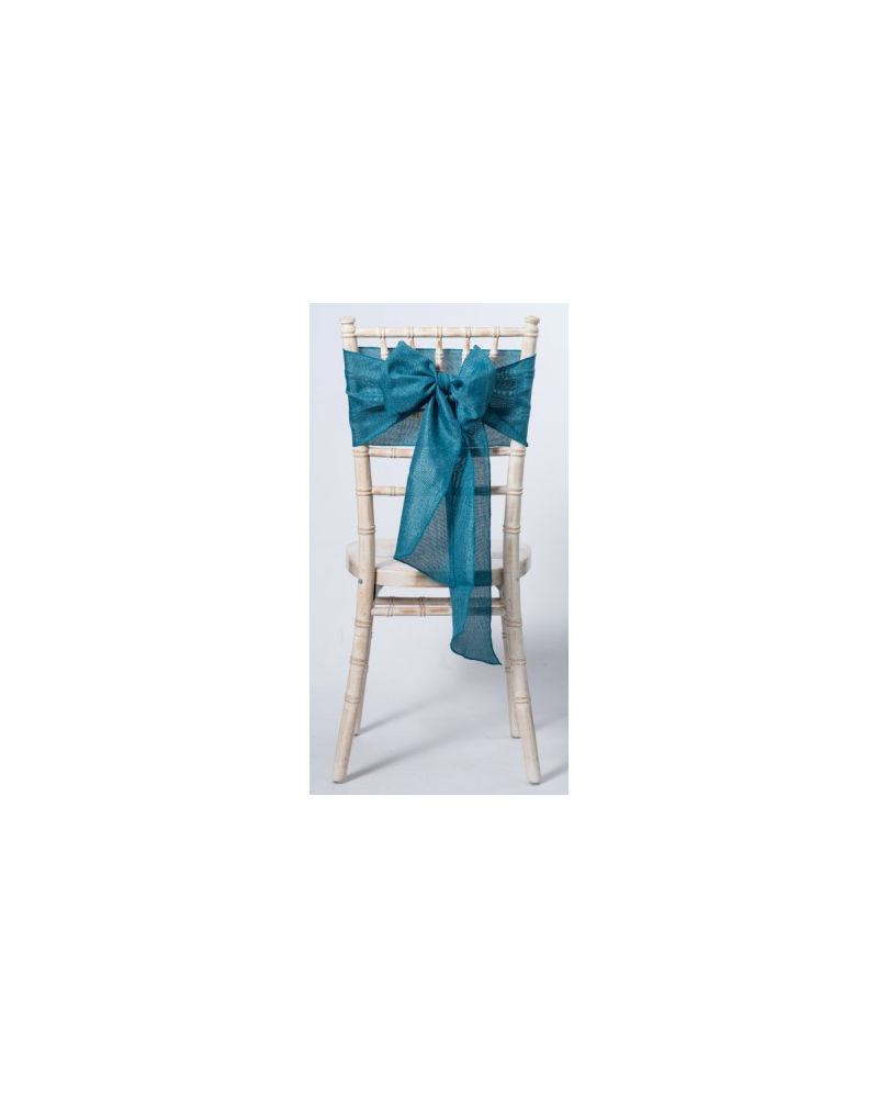 "Teal Green Linen Wedding Chair Cover Sashes 8"" x 108"""