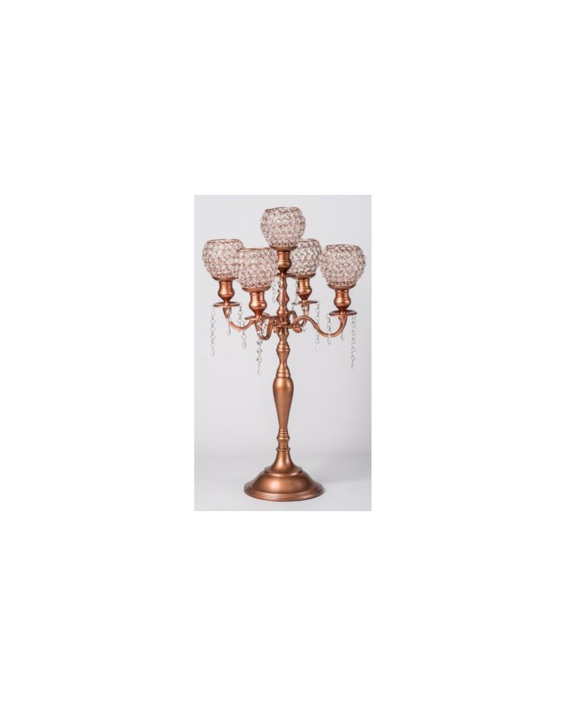 5 Arm Rose Gold Crystal Globe Votive Candelabra 75cm Wedding Party Centrepiece