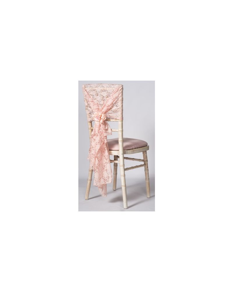 "Blush Pink Lace Vintage Wedding Chair Cover Hood Wrap 29"" x 70"""