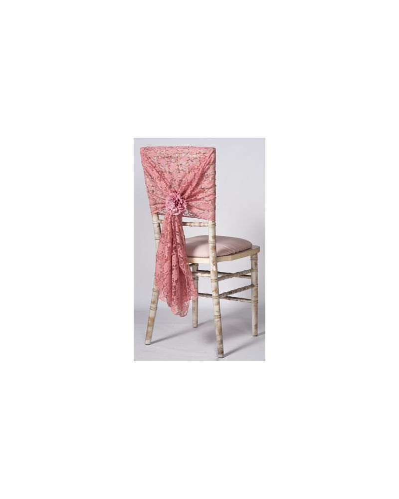 "Dusky Pink Lace Vintage Wedding Chair Cover Hood Wrap 29"" x 70"""