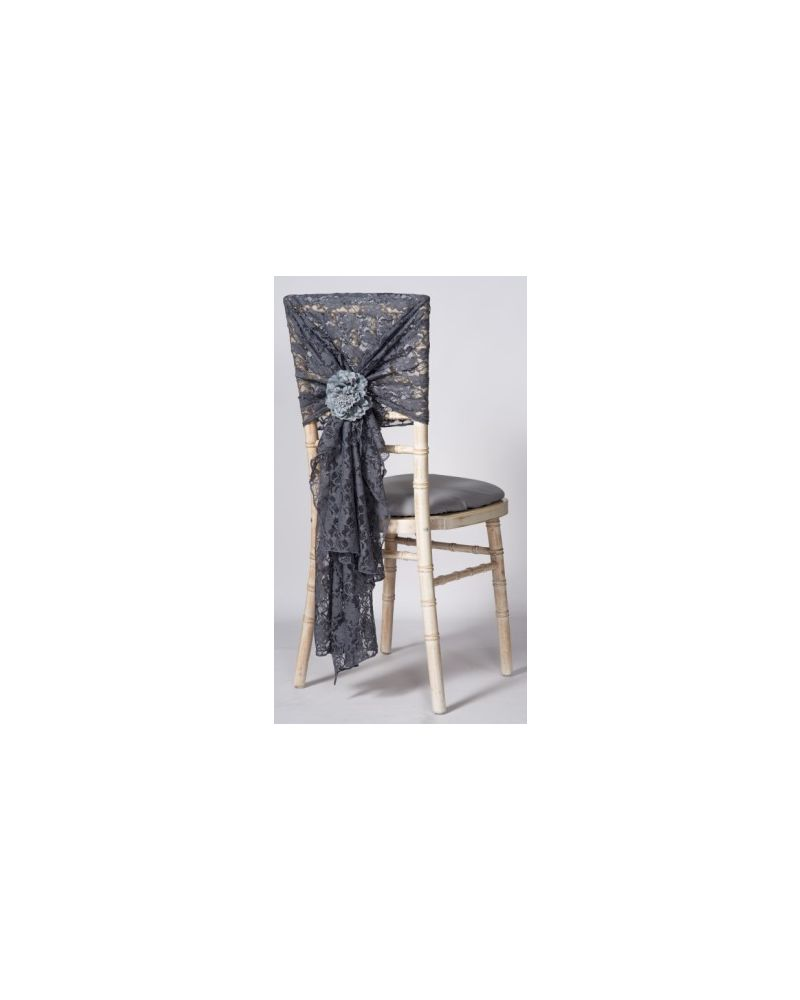 "Dark Grey Lace Vintage Wedding Chair Cover Hood Wrap 29"" x 70"""