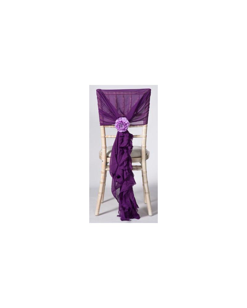 Purple Chiffon Fancy Chiavari Chair Wedding Hood & Ruffle Tail Set