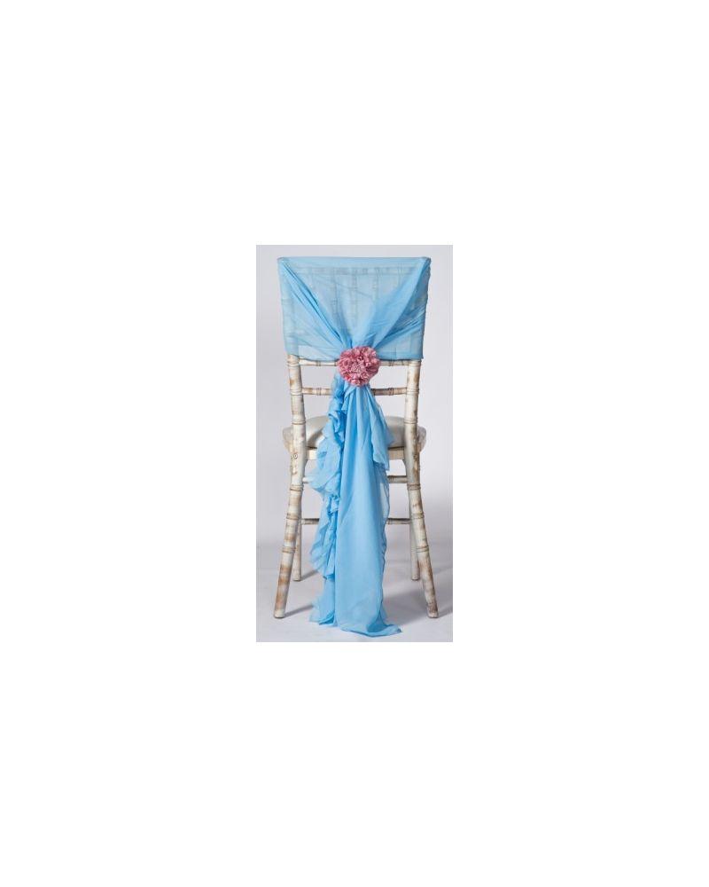 Perriwinkle Blue Chiffon Fancy Chiavari Chair Wedding Hood & Ruffle Tail Set