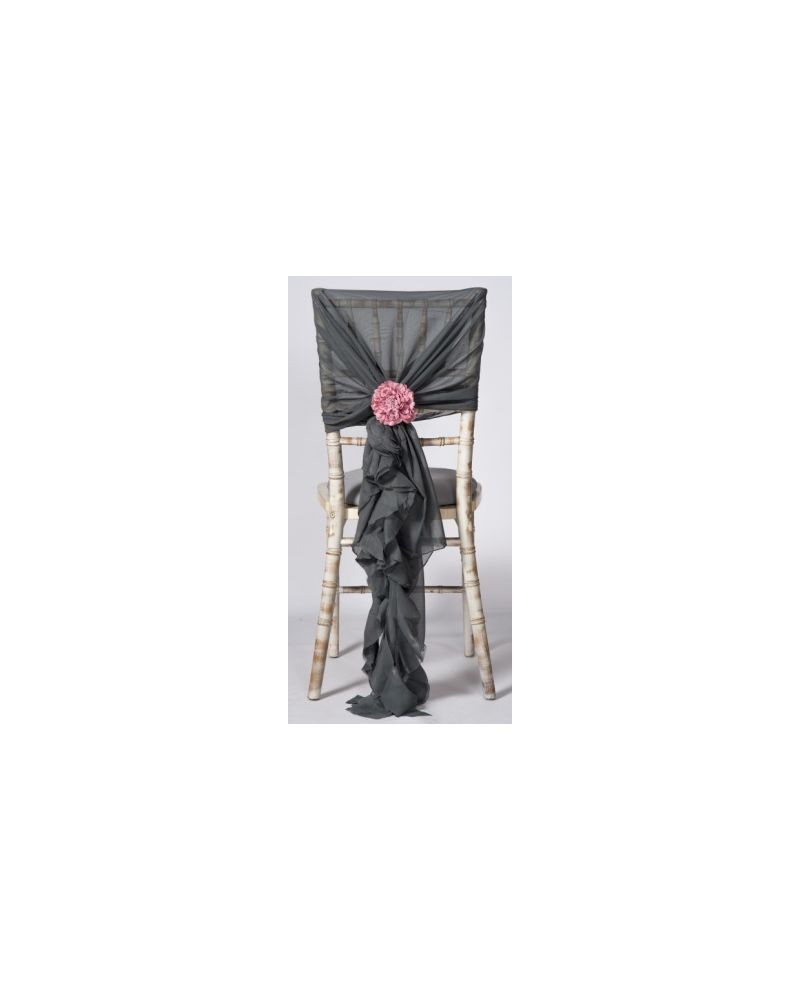 Platinum Dark Grey  Chiffon Fancy Chiavari Chair Wedding Hood & Ruffle Tail Set