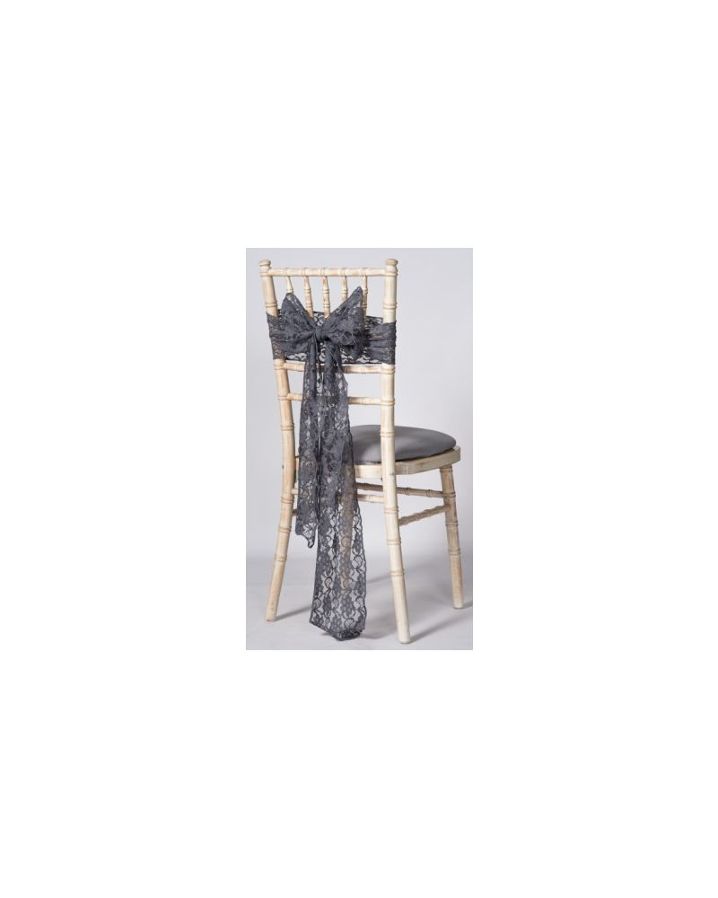 "Dark Grey Lace Vintage Wedding Chair Cover Sashes 8"" x 108"""