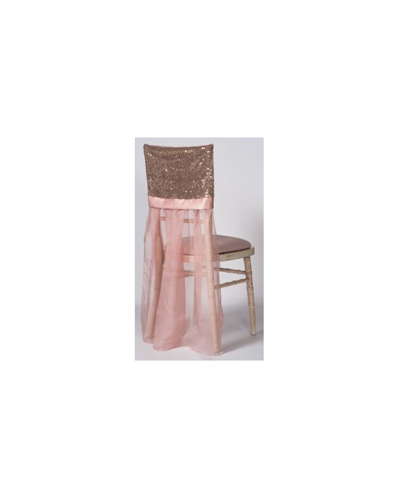 Blush Pink Sequin Chiavari Chair Cap With Drape