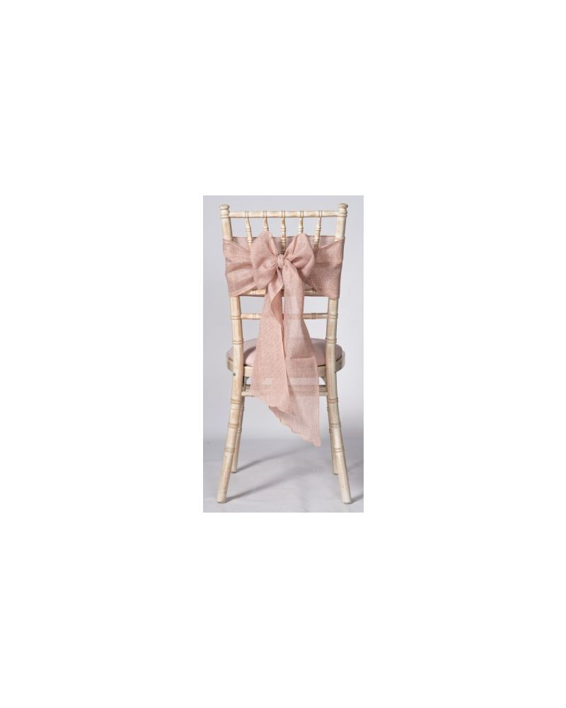 "Blush Pink Linen Wedding Chair Cover Sashes 8"" x 108"""