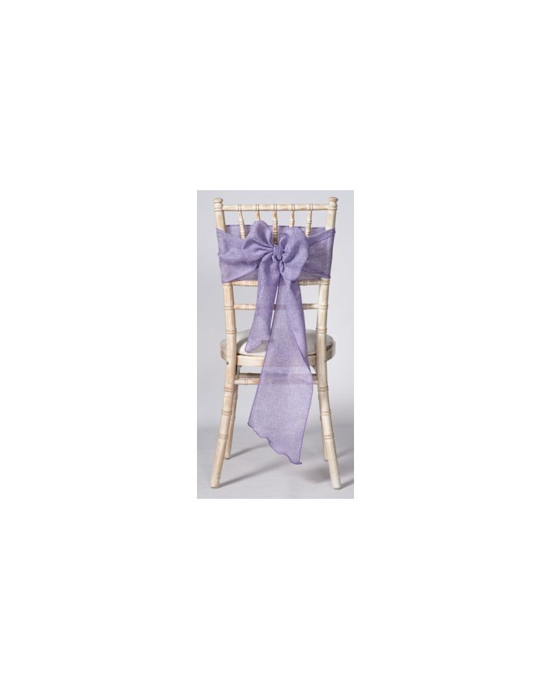 "Lilac Linen Wedding Chair Cover Sashes 8"" x 108"""