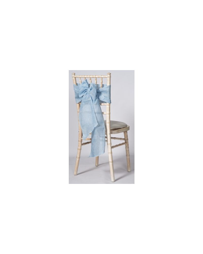 "Light Blue Linen Wedding Chair Cover Sashes 8"" x 108"""