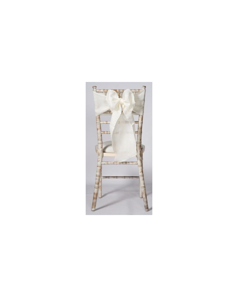 "Ivory Linen Wedding Chair Cover Sashes 8"" x 108"""