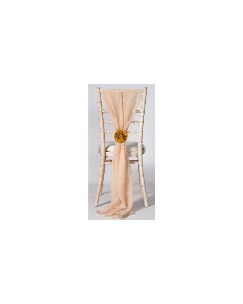 Champagne Chiavari Chair Cover Wedding Chiffon Vertical Drops