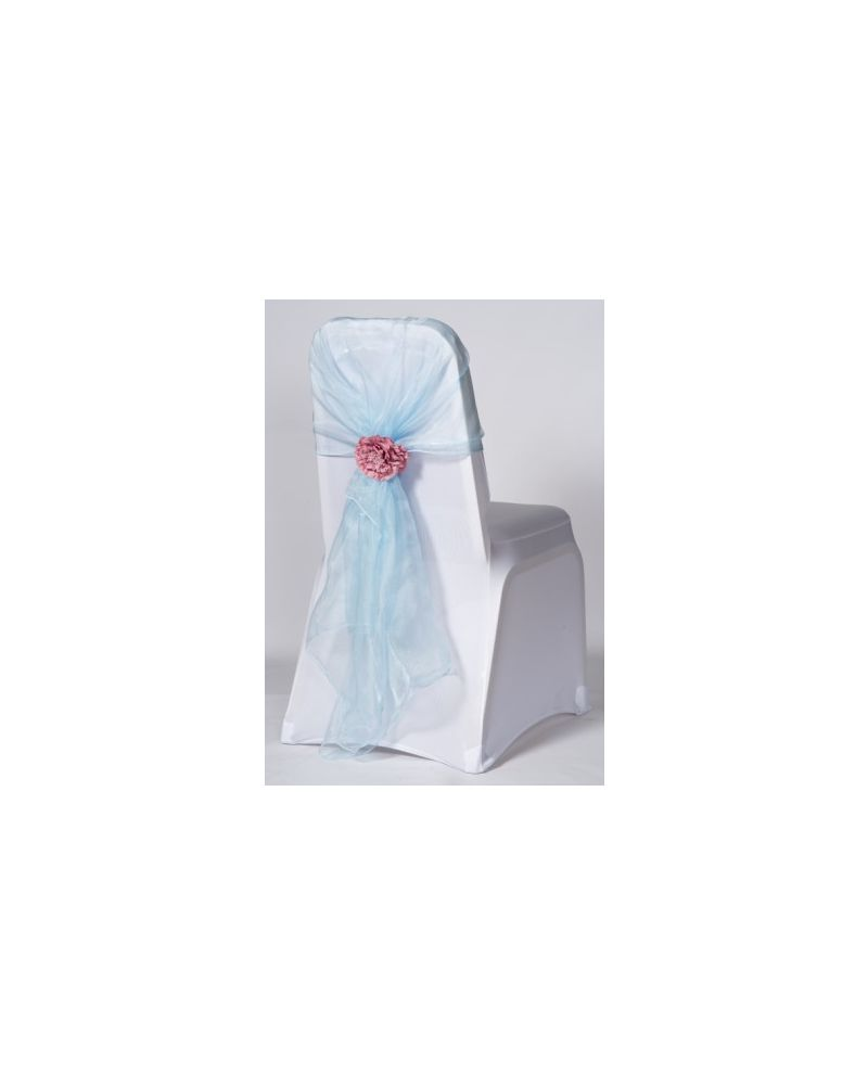 Light Blue Crystal Organza Chair Cover Hoods Wrap
