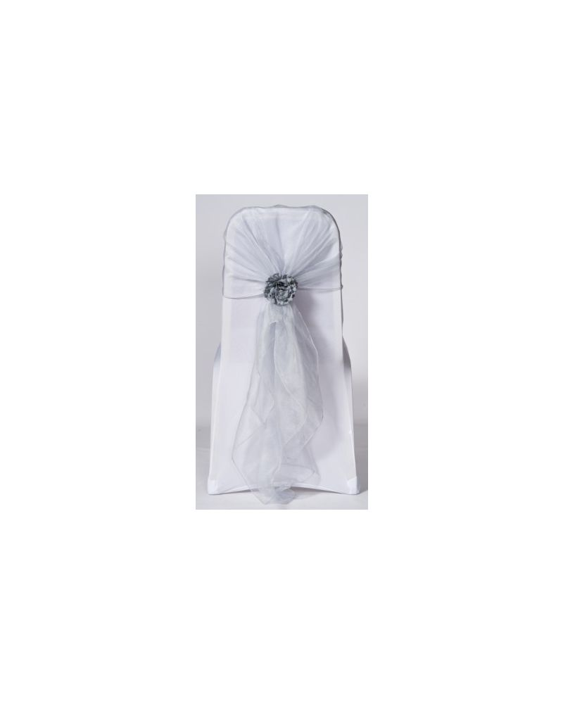 Light Silver Crystal Organza Chair Cover Hoods Wrap