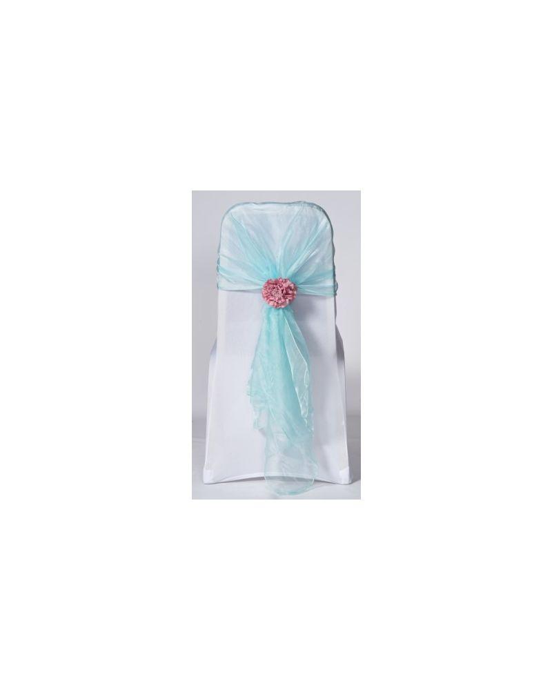 Tiffany Blue Crystal Organza Chair Cover Hoods Wrap