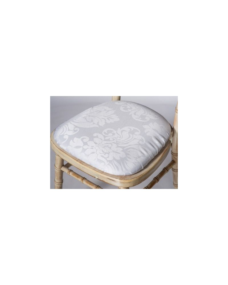 Jacquard Print White Chiavari Chair Polyester Seat Pad Covers (Shower Caps)