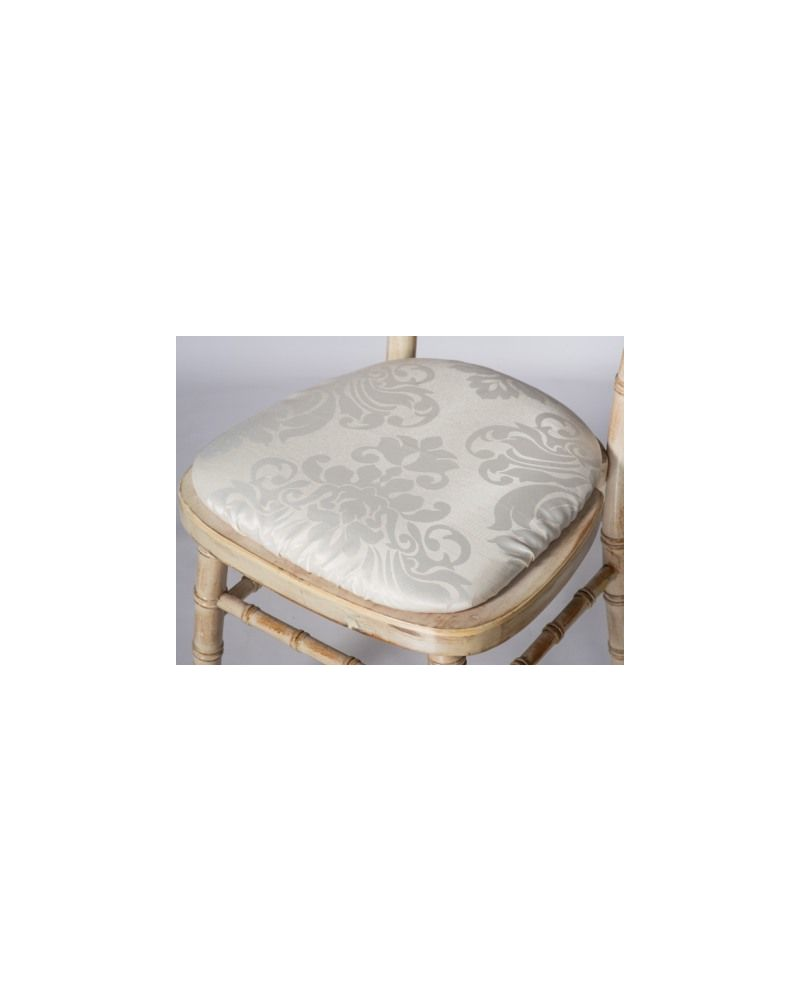 Jacquard Print Ivory Chiavari Chair Polyester Seat Pad Covers (Shower Caps)