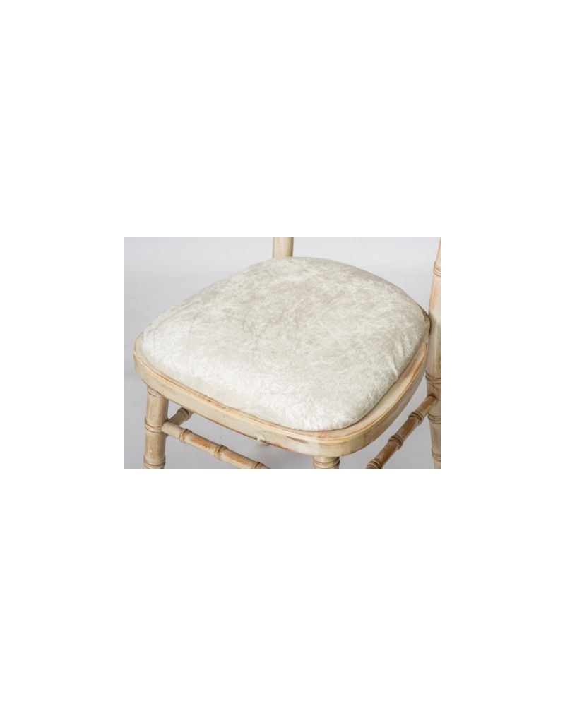 Ivory Crushed Velvet Chiavari Chair Seat Pad Covers (Shower Caps)  To Buy