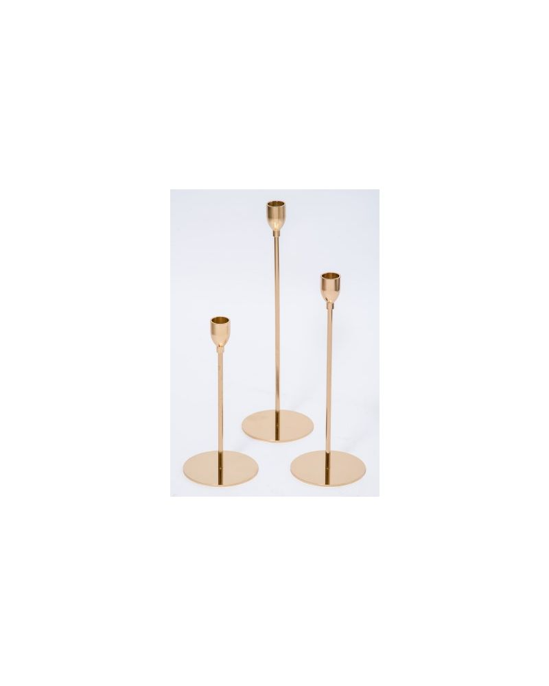 Small Gold Candle Holder set of 3  22cm,28cm & 33cm