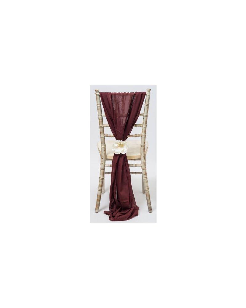Autumn Red Chiavari Chair Cover Wedding Chiffon Vertical Drops