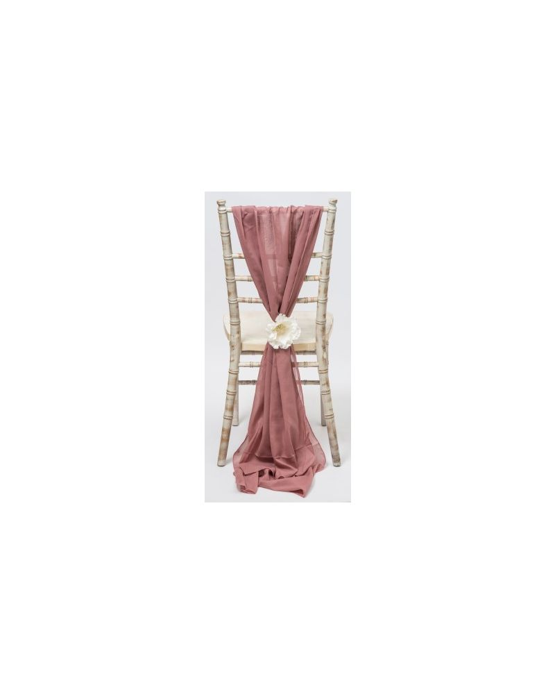 Old Rose Pink Chiavari Chair Cover Wedding Chiffon Vertical Drops