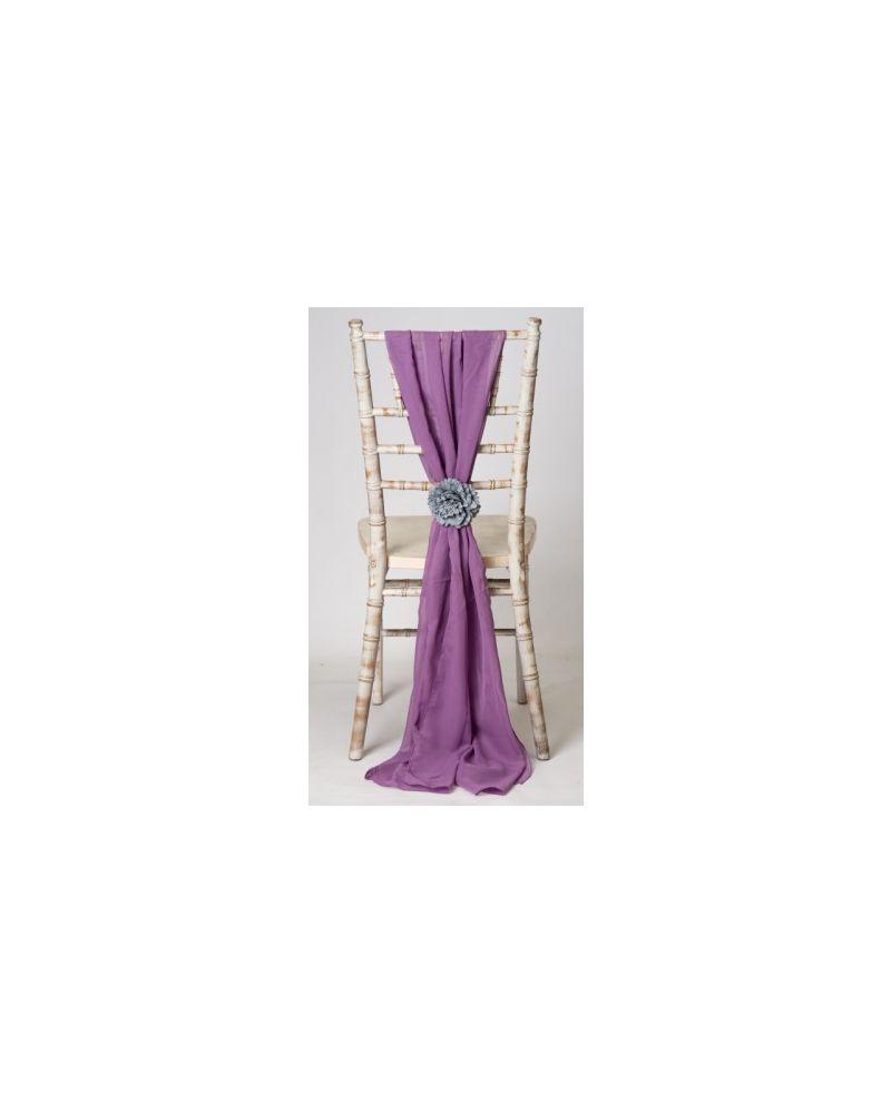 Mauve Chiavari Chair Cover Wedding Chiffon Vertical Drops