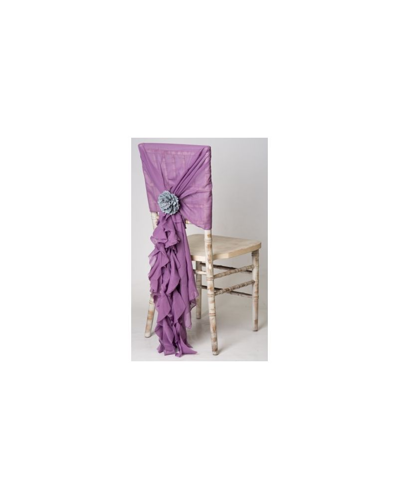Dusky Lavender Chiffon Fancy Chiavari Chair Wedding Hood & Ruffle Tail Set