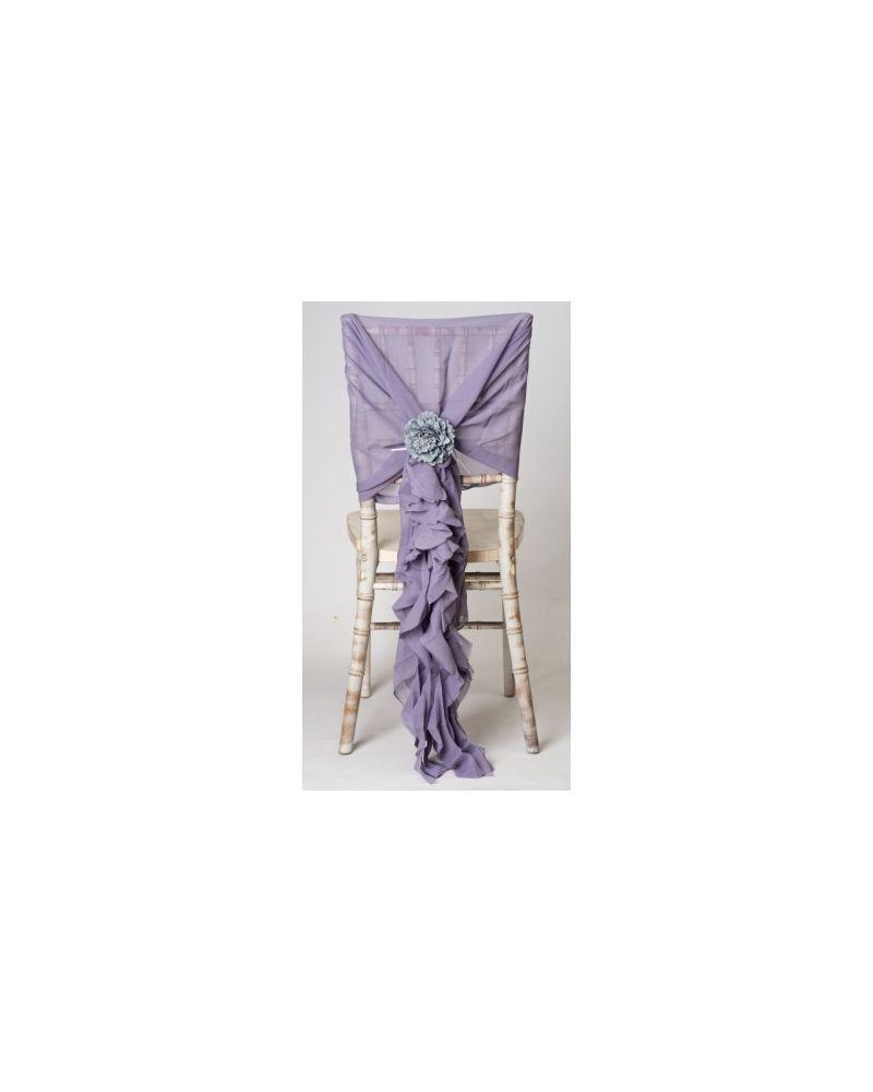 Lavender Grey Chiffon Fancy Chiavari Chair Wedding Hood & Ruffle Tail Set