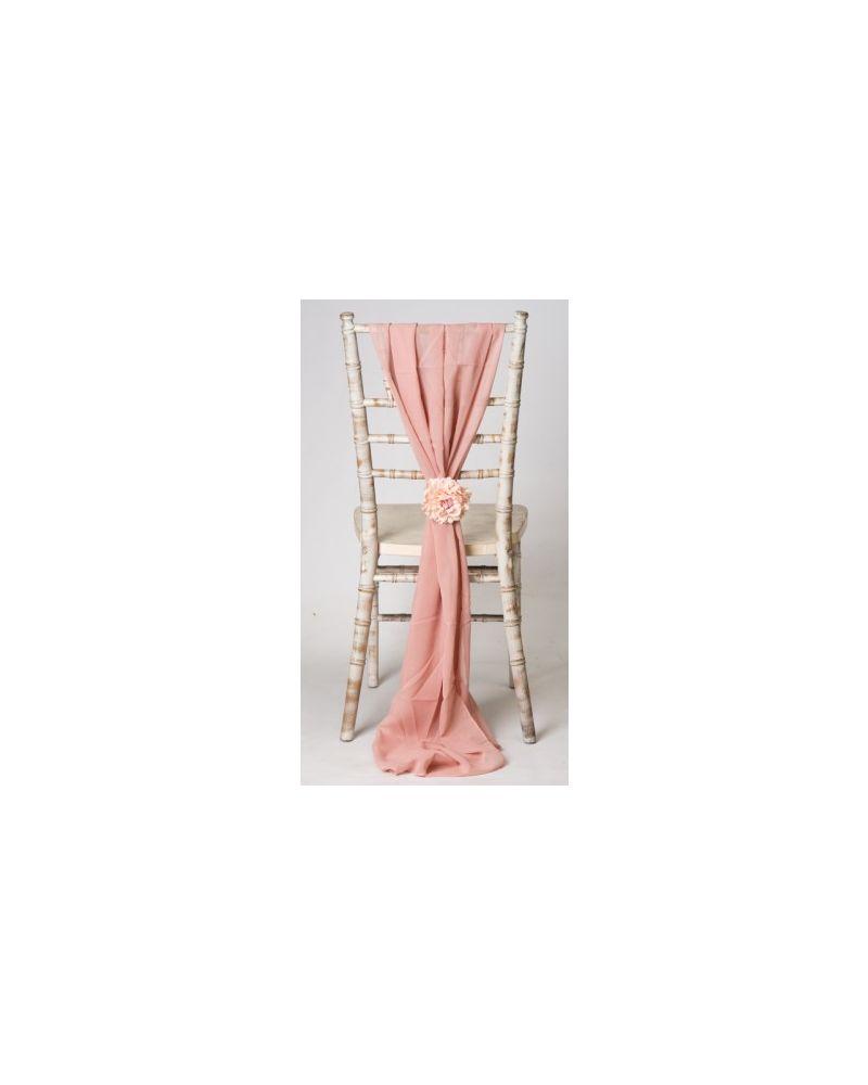 Rose Gold Chiavari Chair Cover Wedding Chiffon Vertical Drops