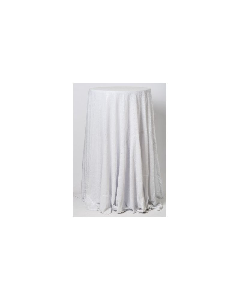 132 Inch Round White Sequin Tablecloth / Overlay