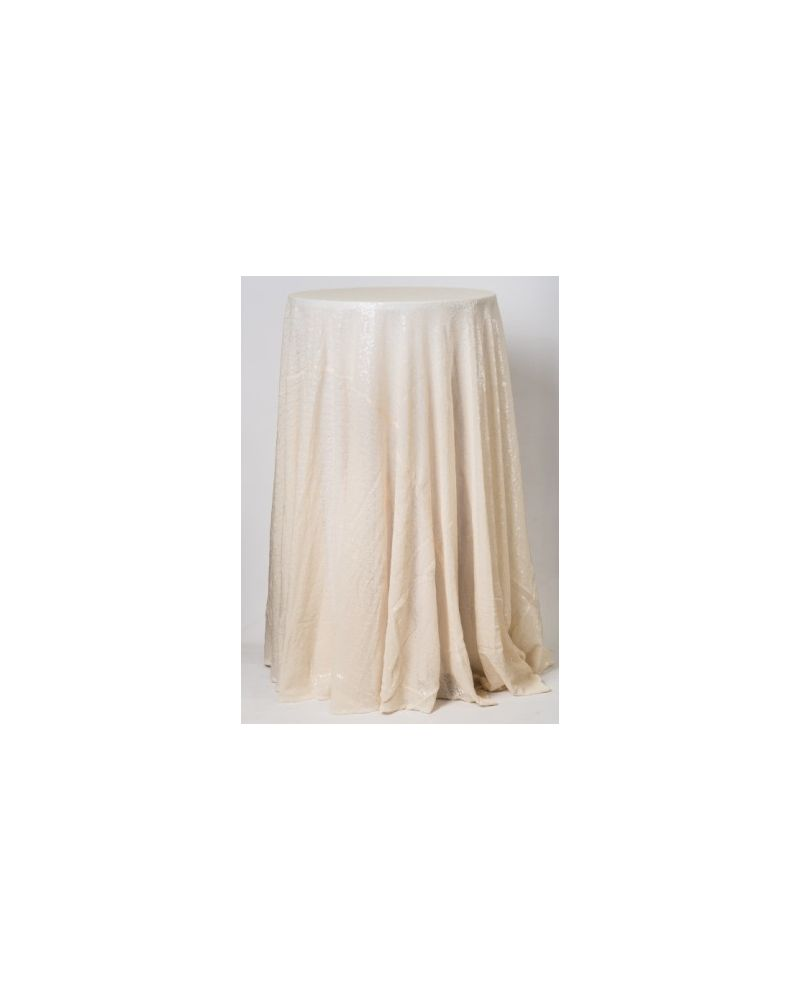 132 Inch Round Ivory Sequin Tablecloth / Overlay