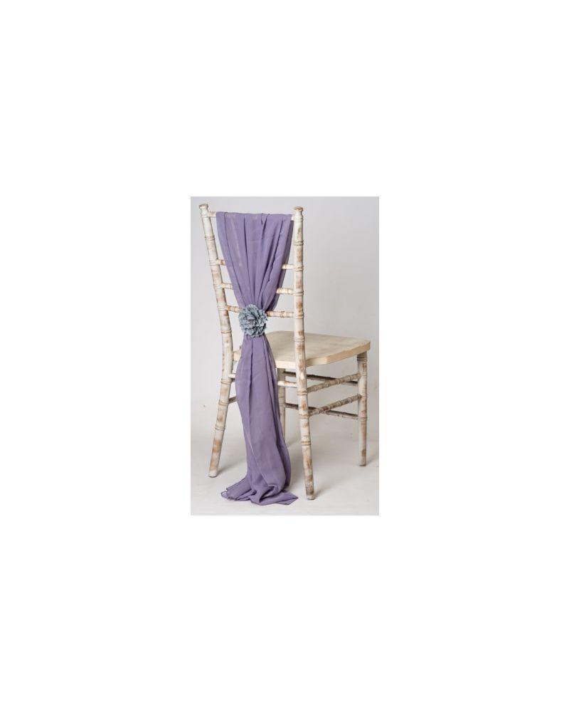 Lavender Grey Chiavari Chair Cover Wedding Chiffon Vertical Drops
