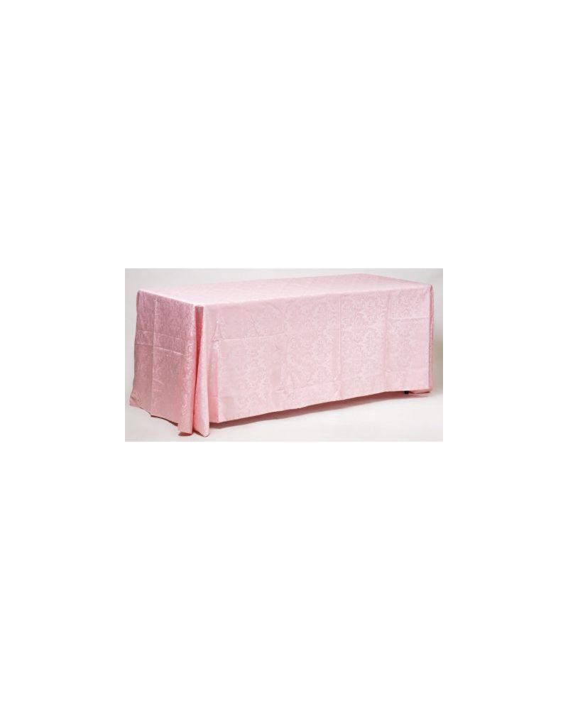 "90""x132"" Blush Pink Damask Rectangular trestle Table Banqueting Tablecloth"