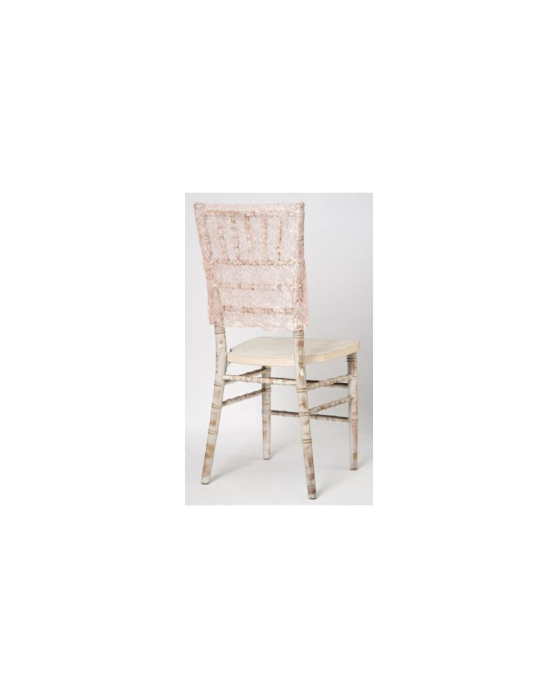 Blush Pink Lace Vintage Wedding Chiavari Chair Cap 38cmx41cm