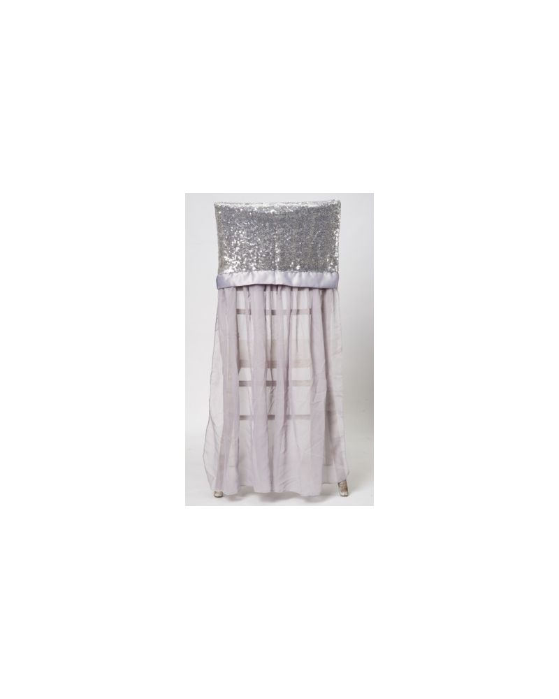 Silver Sequin Chiavari Chair Cap With Drape