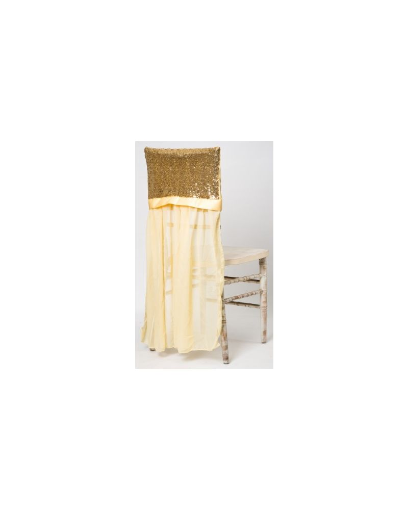 Gold Sequin Chiavari Chair Cap With drape