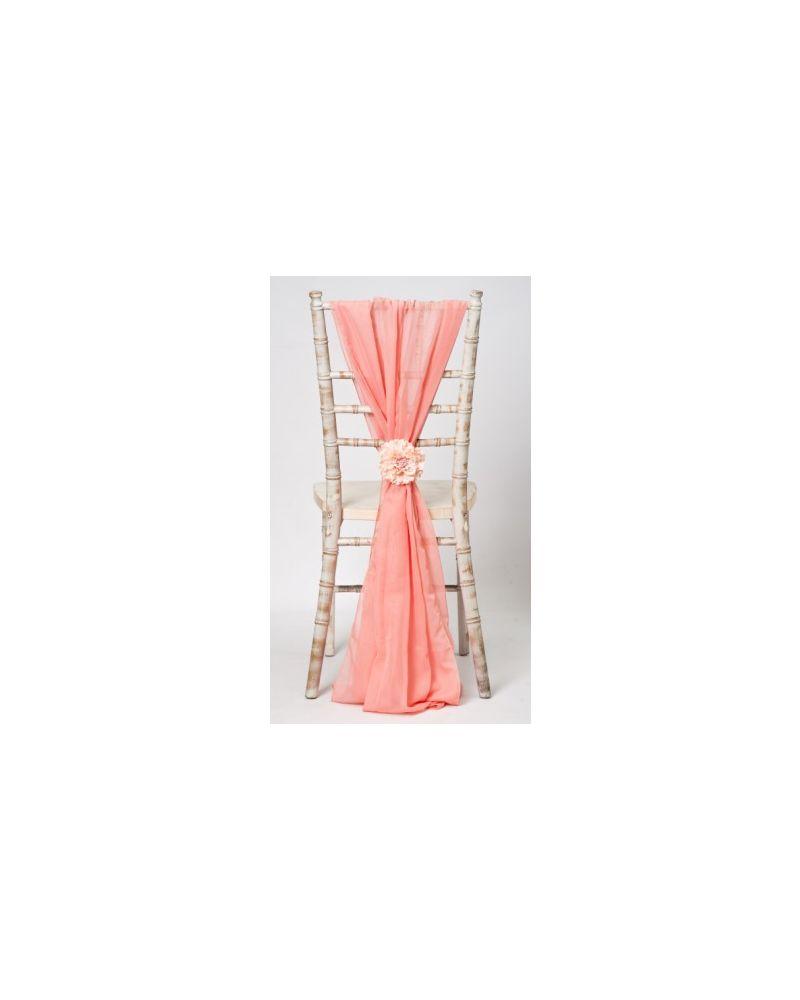 Coral Chiavari Chair Cover Wedding Chiffon Vertical Drops