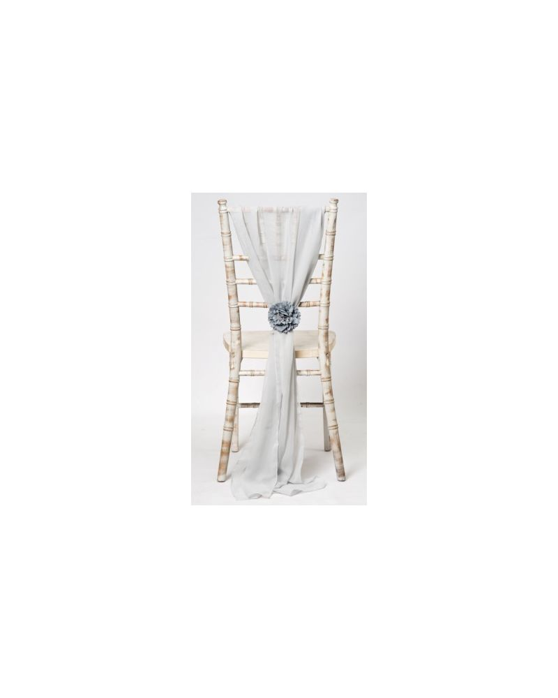Silver Chiavari Chair Cover Wedding Chiffon Vertical Drops